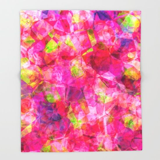 Rose triangles - Pink triangle watercolor pattern Throw Blanket