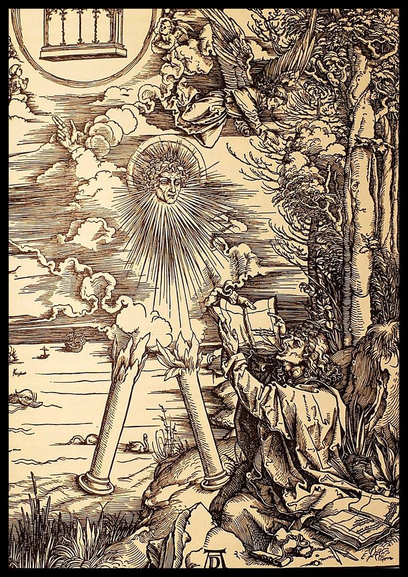 Saint John Devours The Book Angel Durer Woodcut Painting Real Canvas Art Print