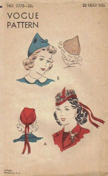 Vintage 1940s Vogue Sewing Pattern Ladies Hat Scotch Cap Head Size ...