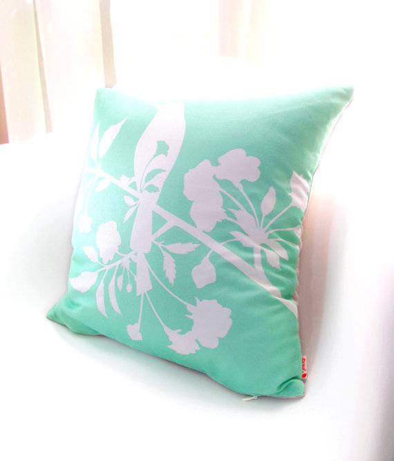 White And Mint Green Blooming Blossom 40 Inches Square By Joom Best 16 Inch Square Pillow Insert