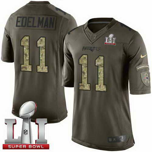 c20b7bf6c Men s Patriots  11 Julian Edelman Green Super Bowl LI 51 Stitched NFL  Limited Salute To Service jerseys