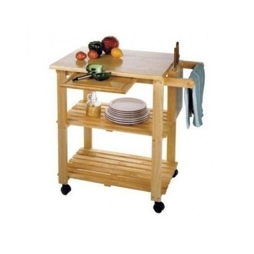Kitchen Utility Cart Rolling Storage Table Island Service Shelf Set Block  Wood
