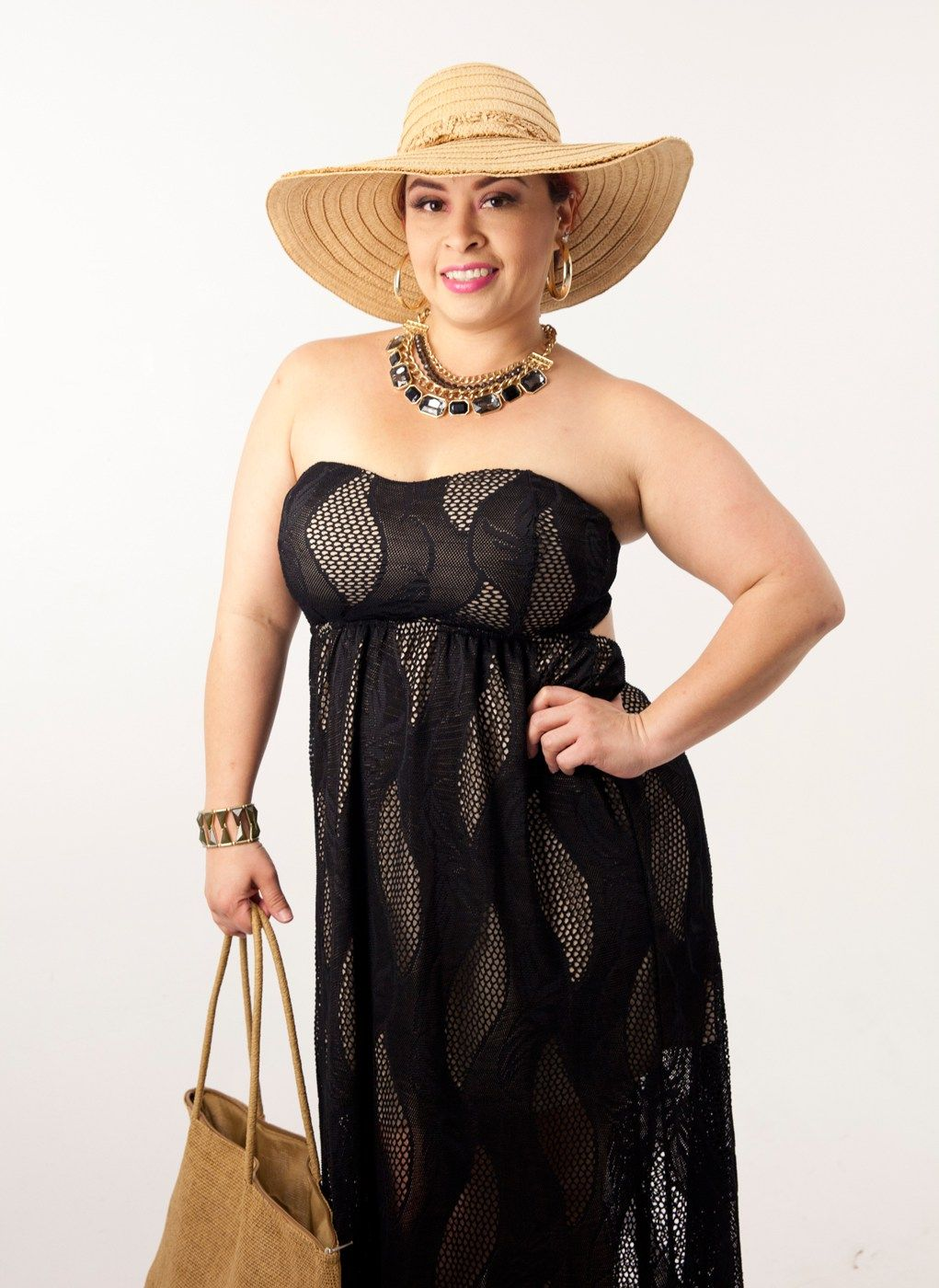 Black Lace Maxi Dress Hat Bag Cruise Outfit | Discount Women's ...