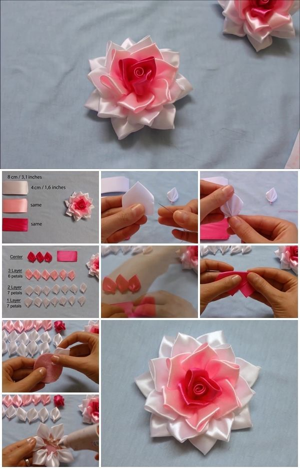 How To Make Kanzashi Ribbon Rose Tuto Pinterest