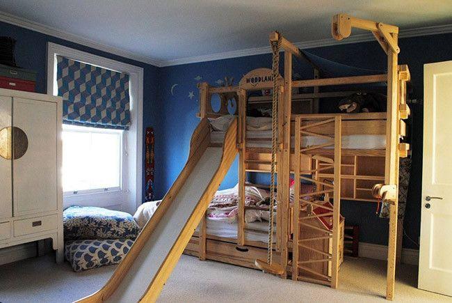 Literas de madera con tobog n y columpio pa 39 la casa for Literas de madera para ninos