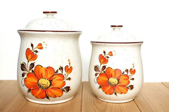 Cute Kitchen Canisters - Set of 4 Ceramic Storage Jars with ...