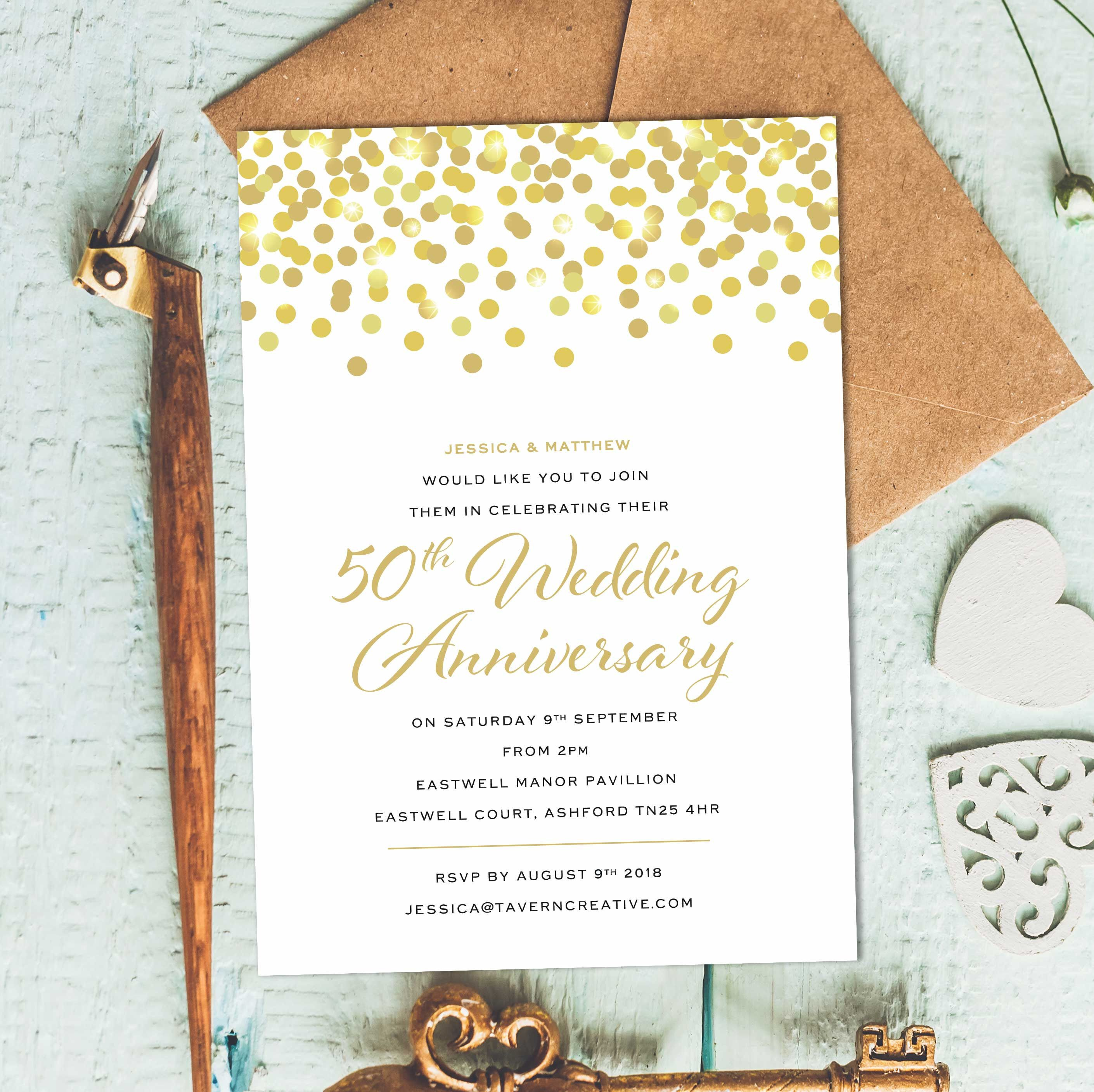 Golden Wedding Invitations 50th Wedding Anniversary Invites 50th