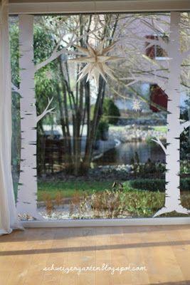 Adventsfenster Ideen.Adventsfenster Ideen Papier Winterlandschaft Birken
