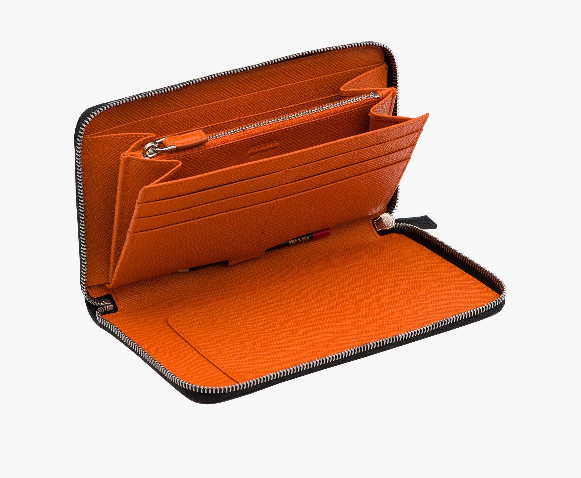 Prada Man Document holder in Black+papaya (orange) 520 EUR. Saffiano ...