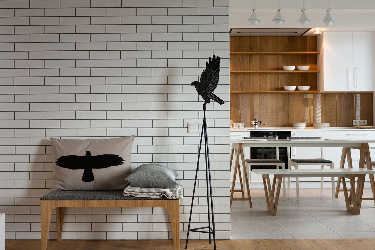 Good Apartment : Adorable Apartment Design With White Brick Walls And Kitchen  Cabinet Amazing Apartment Design With
