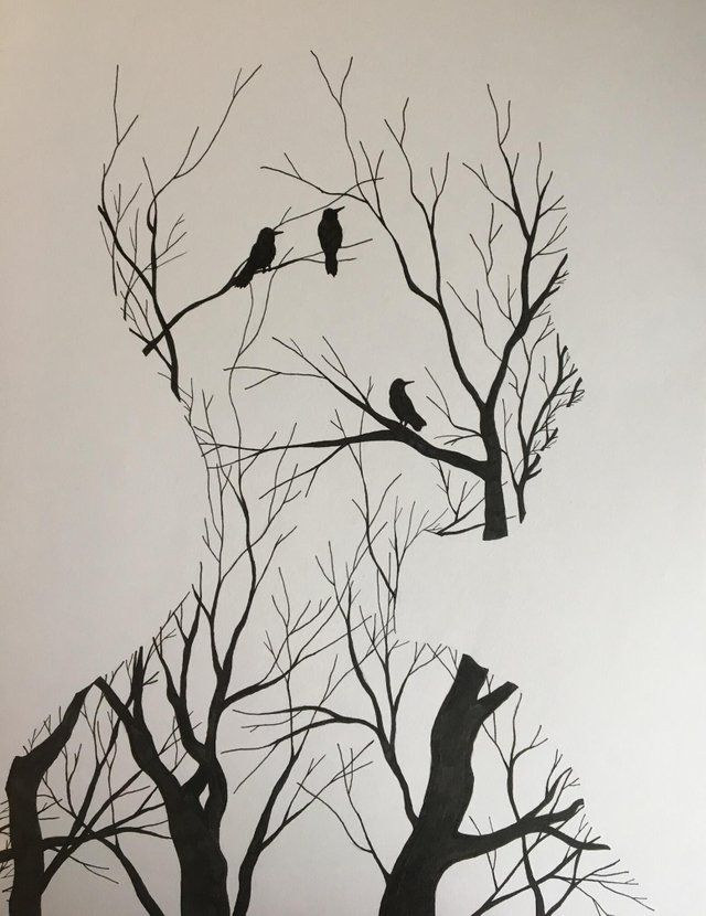In your head, fine liner, 750x1000 px