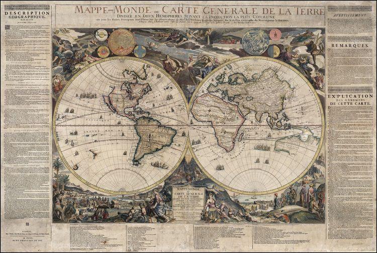 1694 mappe monde ou carte generale de la terre divisee en deux 1694 mappe monde ou carte generale de la terre divisee en deux hemispheres antique mapsvintage mapswall gumiabroncs Choice Image