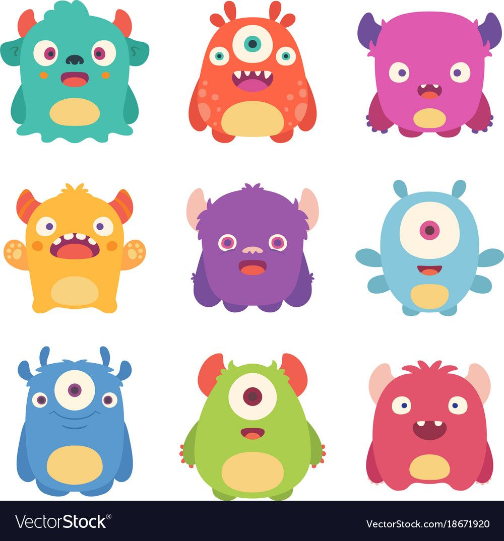 Cute Cartoon Monsters Royalty Free Vector Image Cartoon Monsters Cute Monsters Drawings Cute Monster Illustration