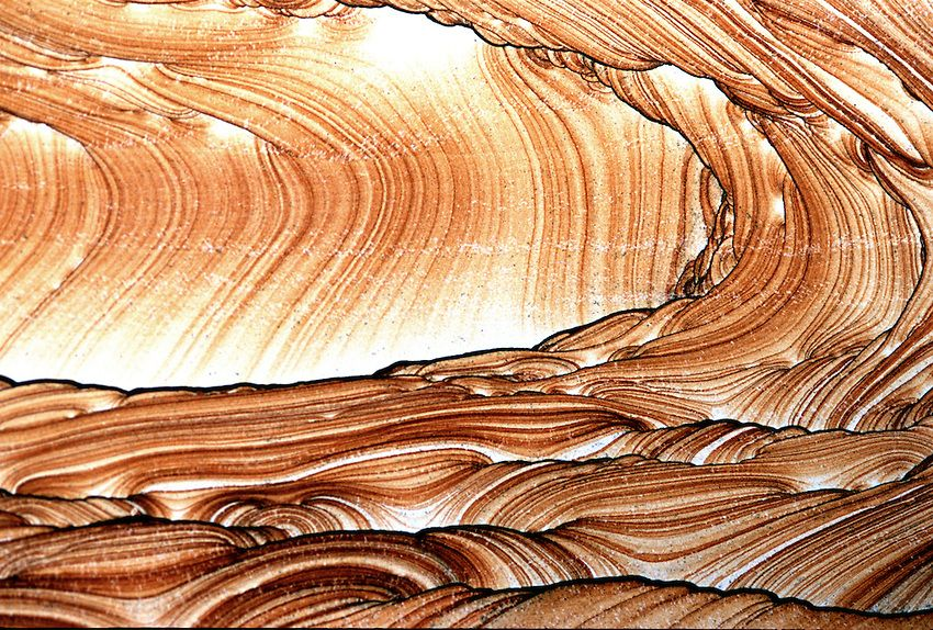 Detail of a slab of Kanab Wonderstone that is mined just outside Kanab Utah