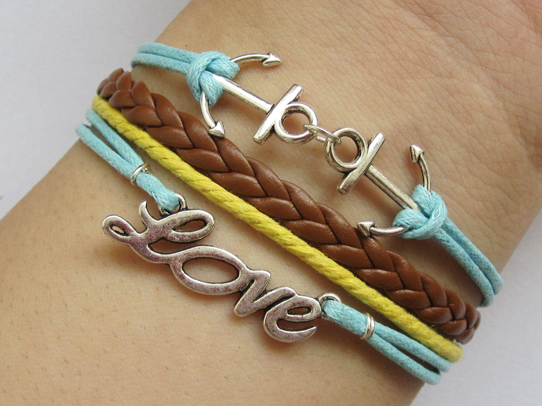 Bracelet-Antique Silver Anchor Bracelet, Love Bracelet, Wax Cords and Brown Braid Bracelet-L008. $4.99, via Etsy.