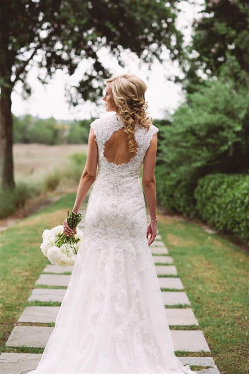 Country girl wedding dress  Elegant Lace Sheath Wedding Dresses Cap Sleeve V Neck See Through