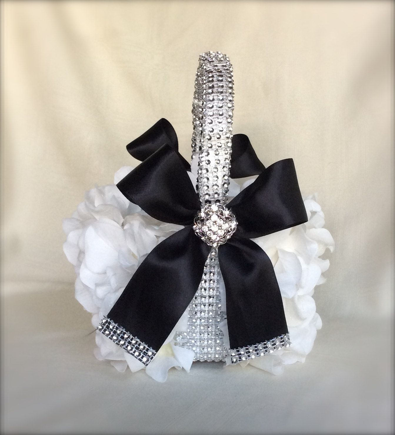 Black And White Flower Girl Basket Bling By Thecrystalflower