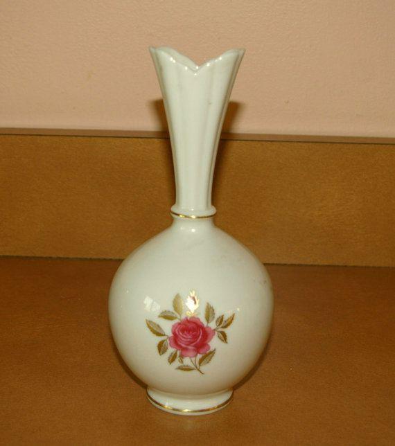 Lenox Rose Vase 24 K Gold Trim Hand Decorated Vintage Vintage