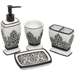 the black and white damask bath accessory set is an elegant addition to any bathroom made of polyresin this set includes a tumbler soap dish