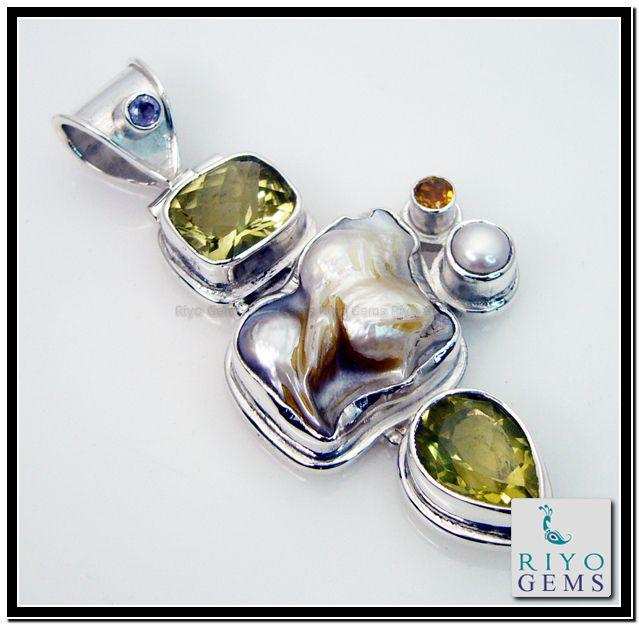 Multi gemstone silver pendant by Riyo Gems www.riyogems.com