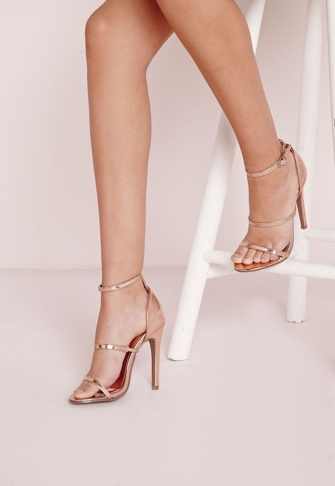 99ab1eca67d Missguided - Three Strap Barely There Heeled Sandals Rose Gold ...