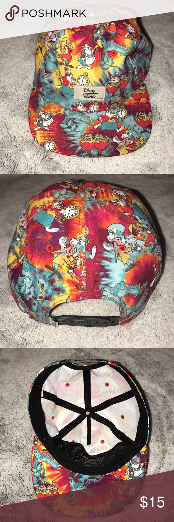 ff51a5f3c45 Vans x Disney Snapback Hat Vans   Disney collaboration Snapback Hat Alice  in Wonderland characters with tie dye Vans Accessories Hats