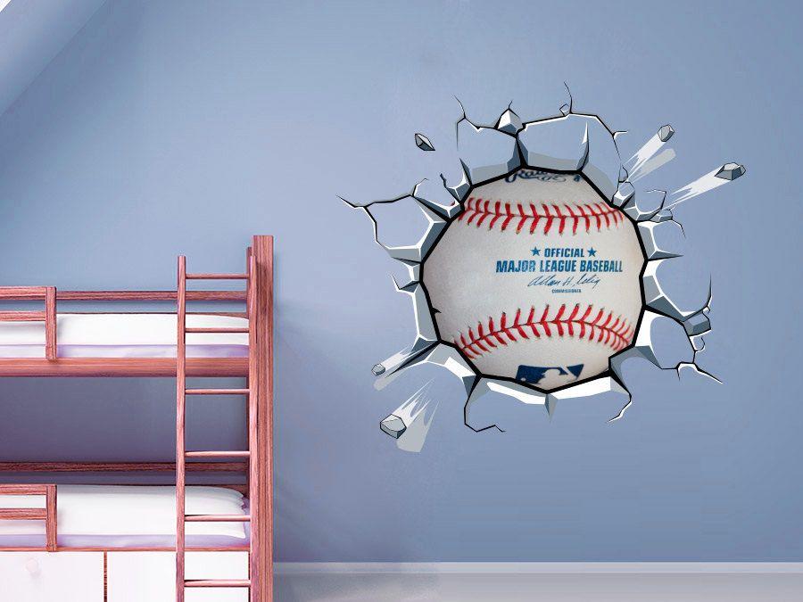 Baseball Decor Ball Cracked Wall Effect Sports Sticker