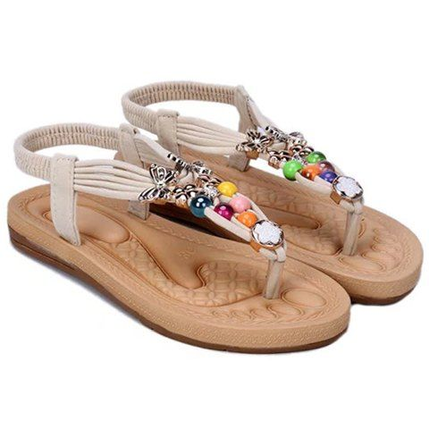 e2e2cf2b8423f Beading Design Flat Sandals For Women