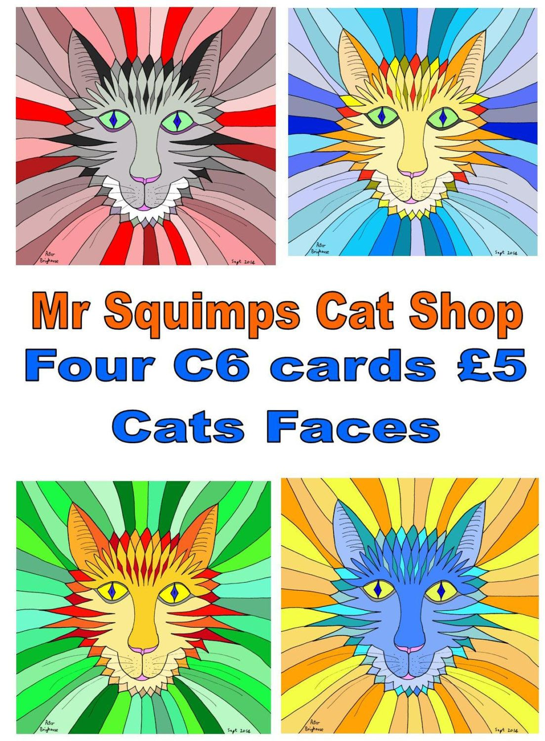 Card pack four cards ginger nuts extra colourful cat faces kristyandbryce Image collections
