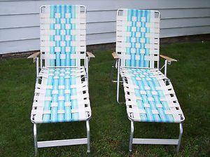 Vtg Webbed Aluminum Lawn Chair Beach Chaise Lounge Chairs Set Of 2 Retro WOW