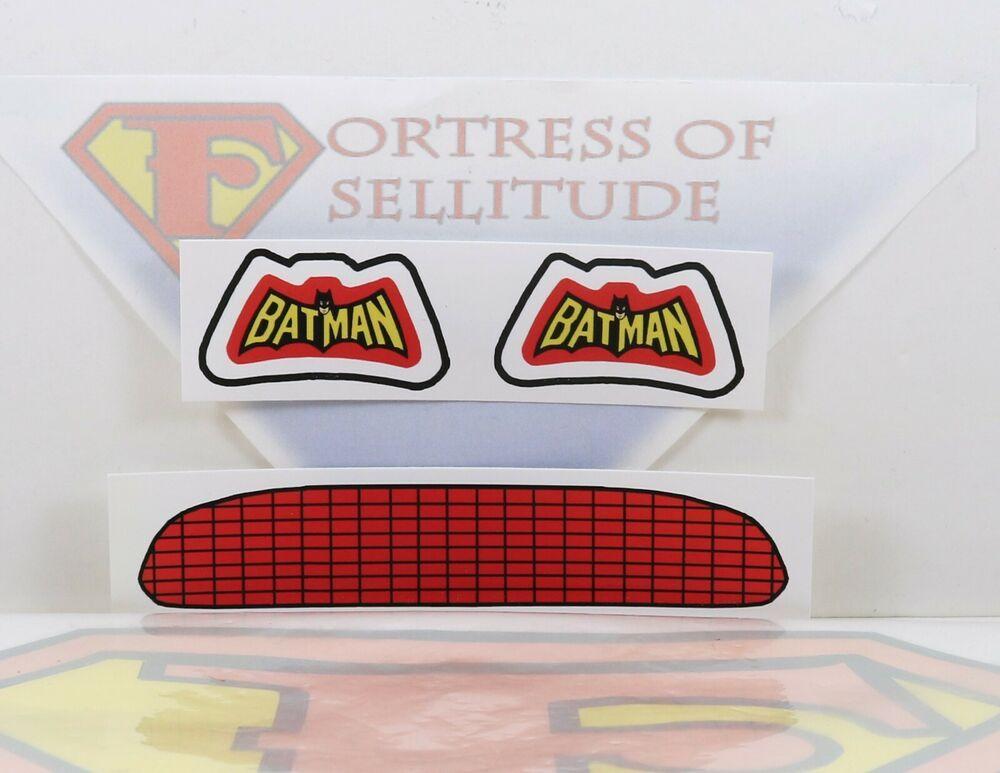 """Repro Mego 8/"""" scale Vehicle parts Batmobile UNCUT stickers,emblem,decal,Batman"""