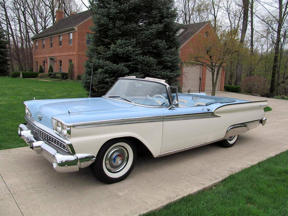 1959 ford fairlane 500 galaxie sunliner convertible light blue over white