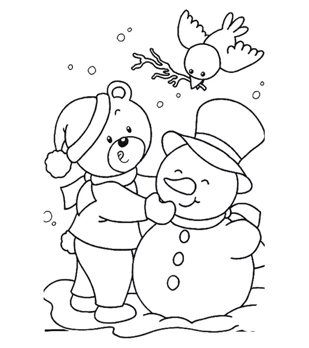 Season and Weather Coloring Pages - MomJunction  Snowman coloring