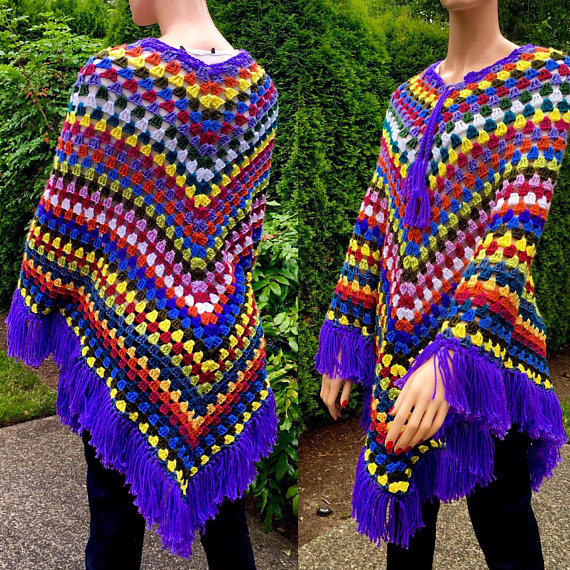Crochet Granny Square Poncho/ Fringed Shawl/ Crochet Cloak Wrap/Colorful Afghan Poncho/Hippie/ Boho Shawl #grannysquareponcho