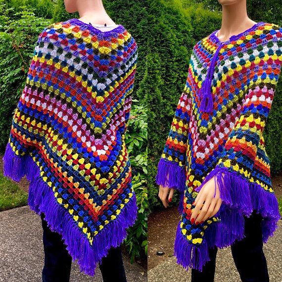 Crochet Granny Square Poncho/ Fringed Shawl/ Crochet Cloak Wrap/Colorful Afghan Poncho/Hippie/ Boho Shawl #grannysquareponcho