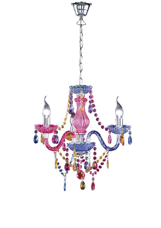 Kinderlampe Für Eine Echte Prinzessin: Leuchten Kronleuchter Lüster  3 Flammig / Aus Acryl In Multicolour
