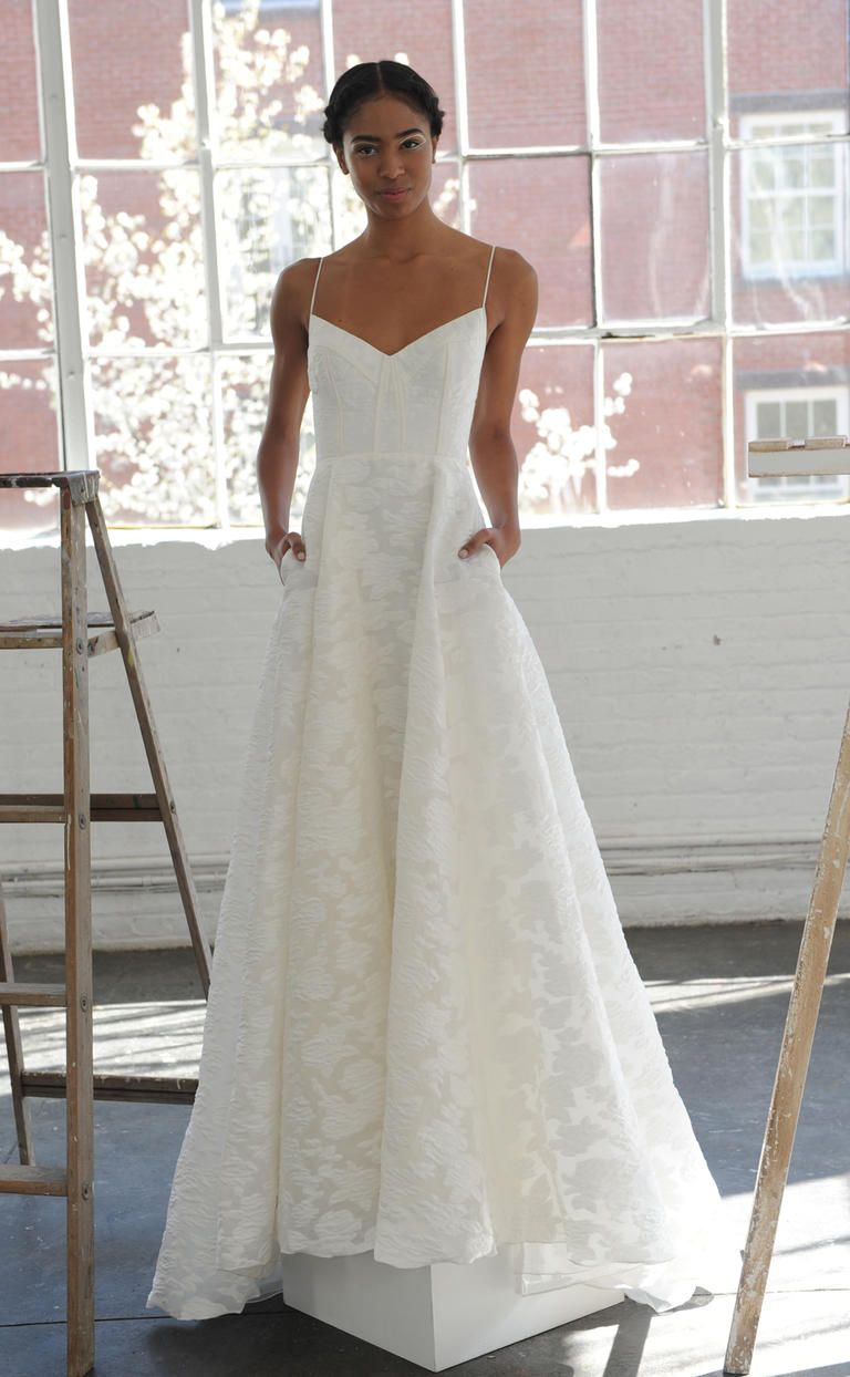 V-neck neckline with spaghetti straps and structured bodice | Lela Rose Spring 2017 | https://www.theknot.com/content/lela-rose-wedding-dresses-bridal-fashion-week-spring-2017
