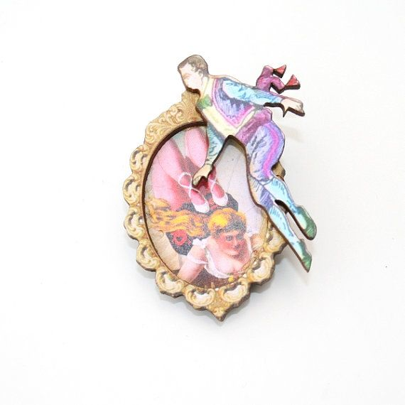 Circus Brooch Wooden Performer Brooch Circus by LaurasJewellery, £7.00
