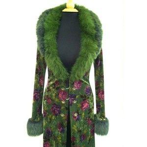 Betsey Johnson Green Velvet Coat, Ankle Length, Faux Fur Collar Cuffs, Sz M
