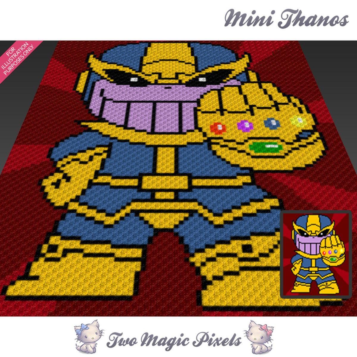 Mini Thanos C2C Crochet Graph