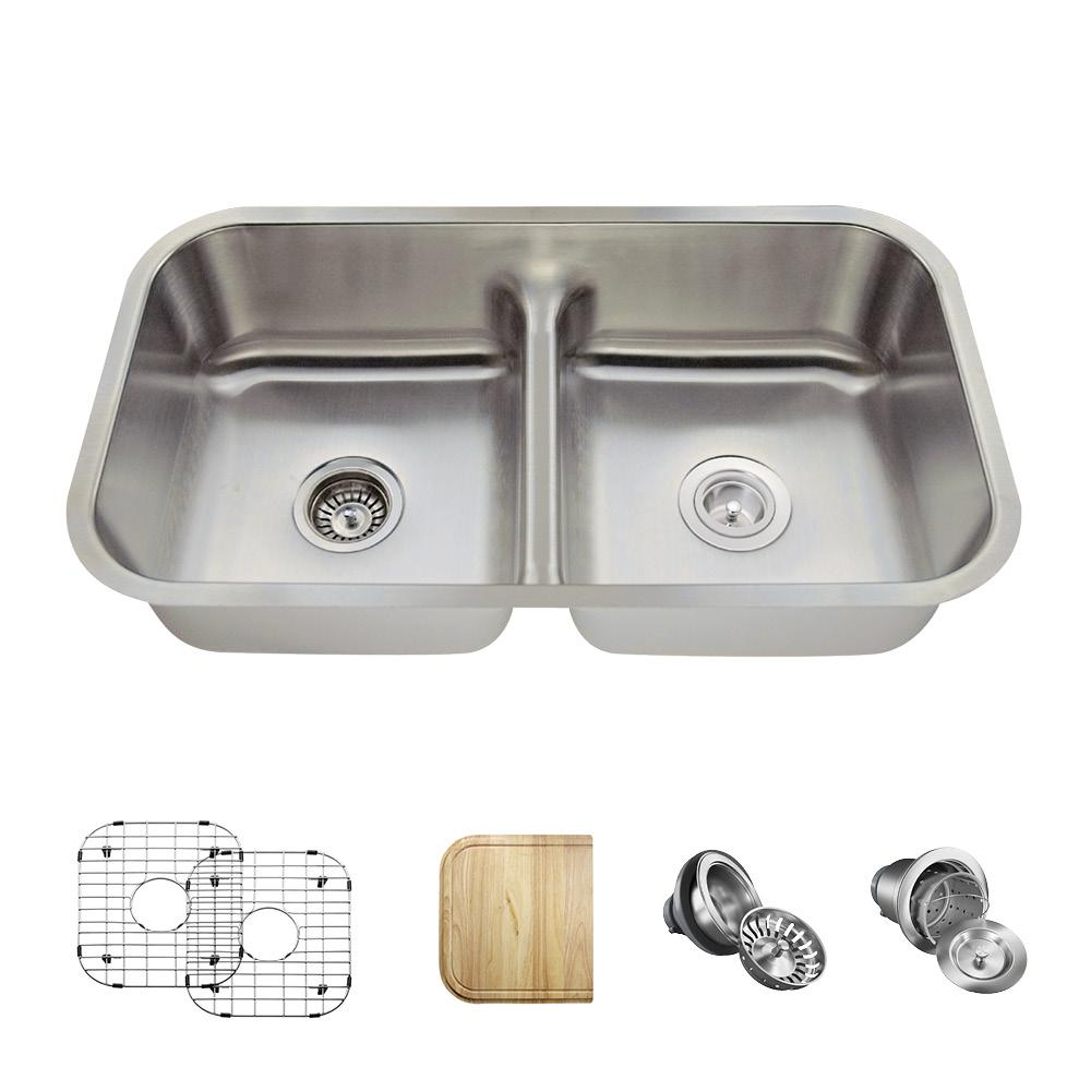 Mr Direct Undermount Stainless Steel 33 In Double Bowl Kitchen Sink With Additional Accessories 512 18 Ens The Home Depot Undermount Kitchen Sinks Stainless Steel Kitchen Double Bowl Kitchen Sink