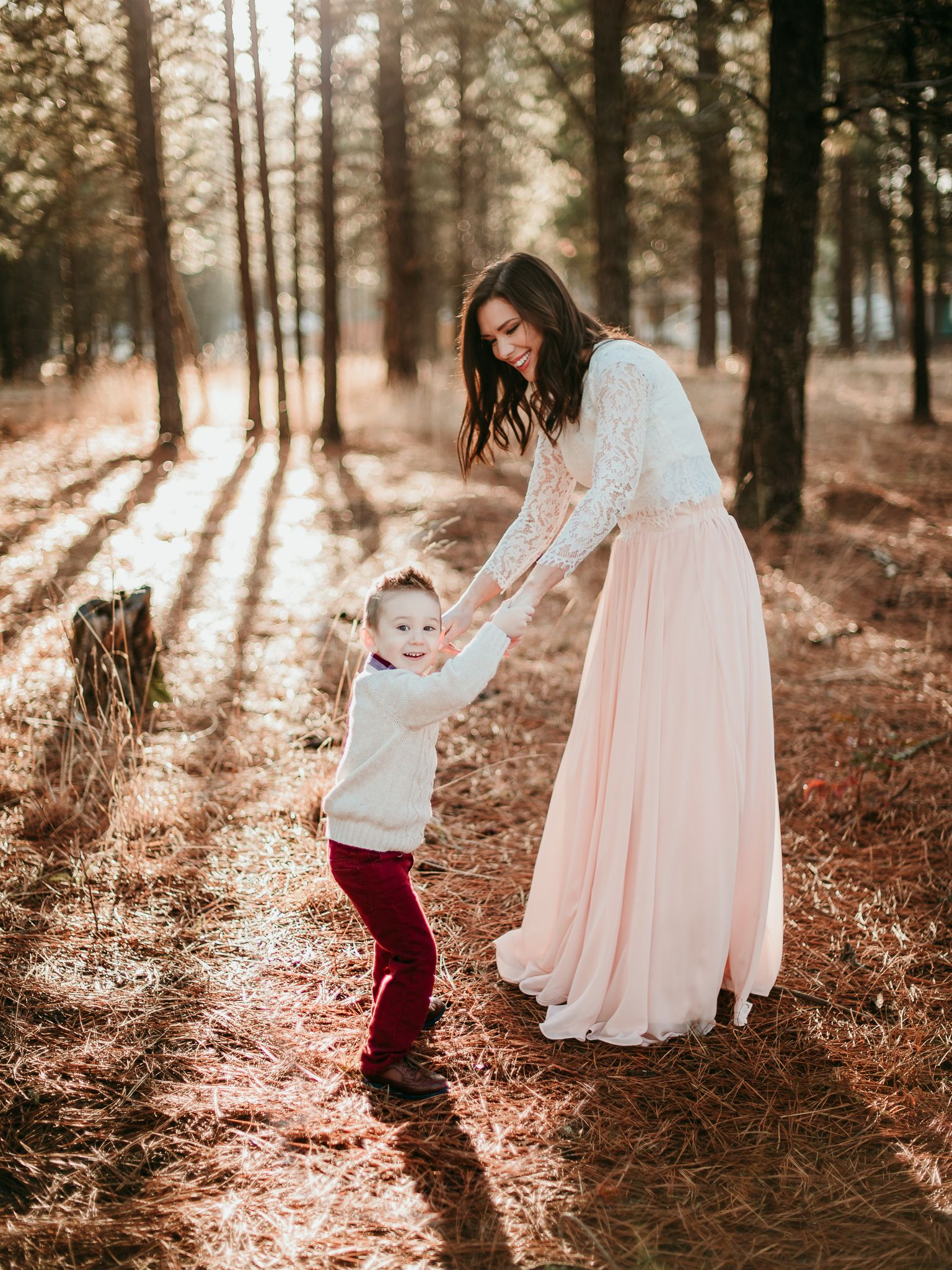 Mother And Son Dancing In The Woods During Golden Hour Spokane Valley Washingt Mommy And Me Photo Shoot Lifestyle Photography Family Mom Daughter Photography