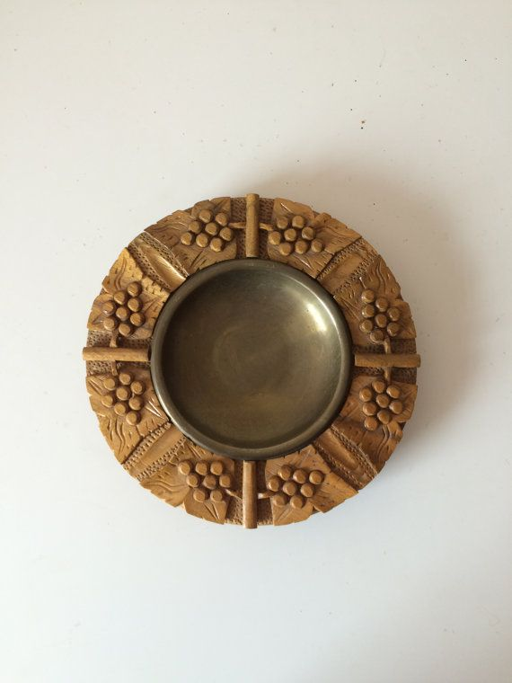 Carved Wood and Brass Tray by odevintageshop on Etsy