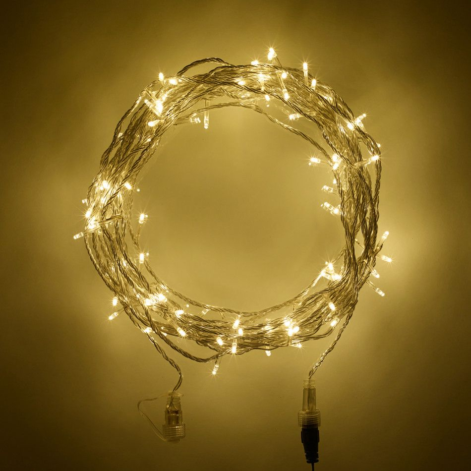 Guirlande lumineuse raccordable 100 led blanc chaud sdb 100 warm white led connectable fairy lights on clear cable type u these are the lights i think well get for the garden aloadofball Gallery
