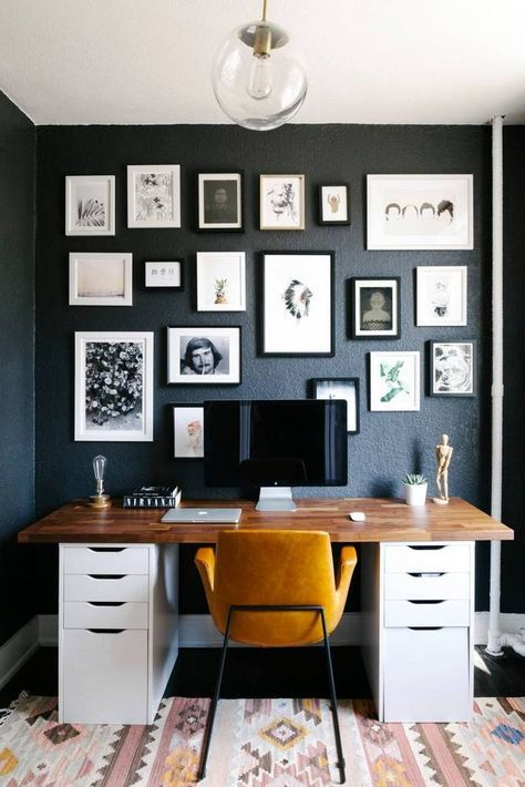 Attractive Small Space Design Home Office With Black Walls