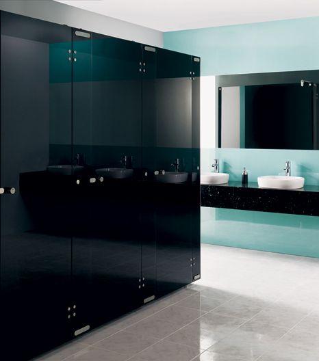 Aqueous Glass Toilet Cubicles Black Toilet Cubicles Public Restroom Design Restroom Design Glass Bathroom