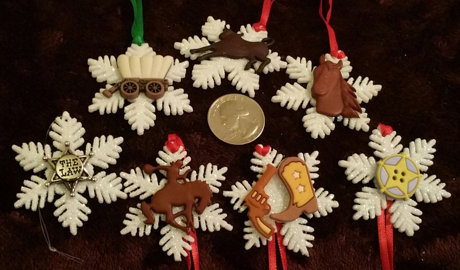 Christmas ornament sets for tree - 7 Piece Wild West Western Set Snowflake Character Christmas Ornament Set Decorations Gifts