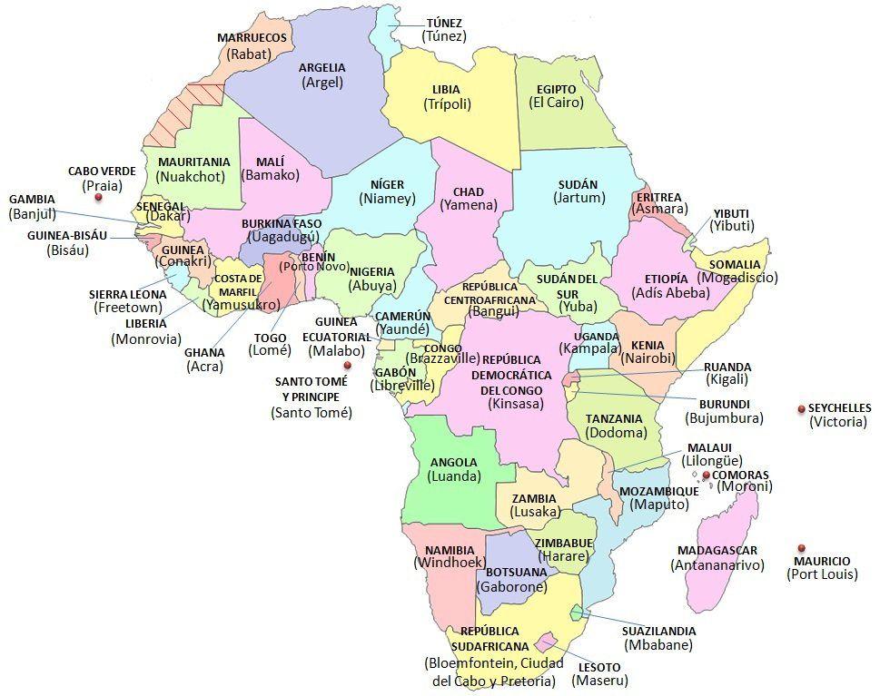 mapa africa mapa africa capitales. (969×767) | vc | Pinterest | Africa mapa africa