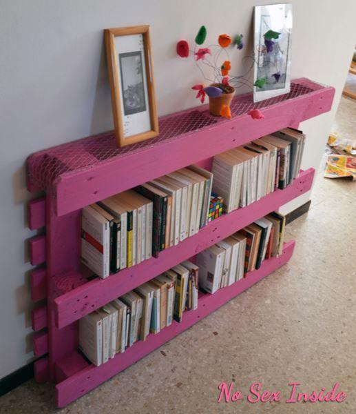 bibliotheque en palette meuble