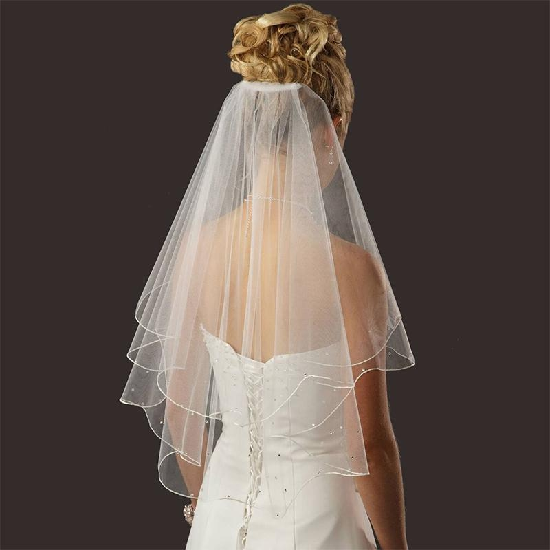 Bridal Wedding Veil White Ivory 2 Tier Short Elbow Length Pencil Edge Wedding Veils Short Wedding Bridal Veils White Bridal